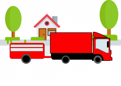Red Truck with Trailer art